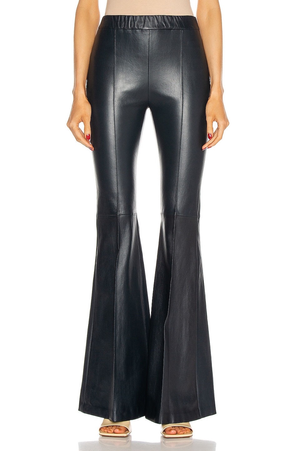 Image 1 of Rosetta Getty Pull On Pintuck Flare Pant in Navy