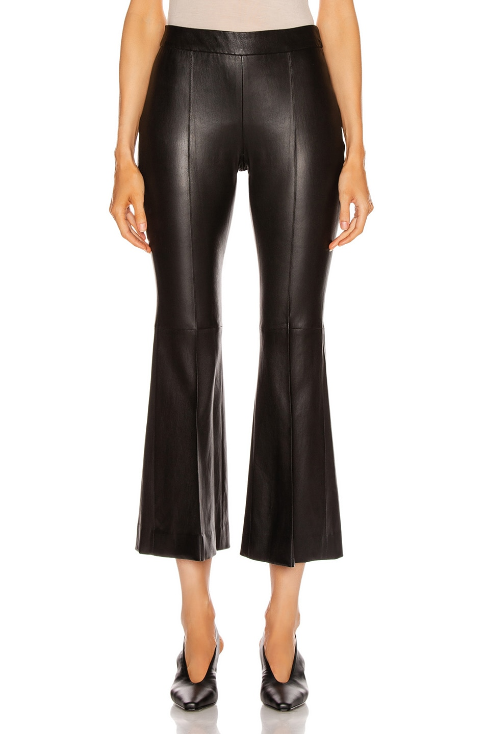 Image 1 of Rosetta Getty Pull On Cropped Flare Pant in Black