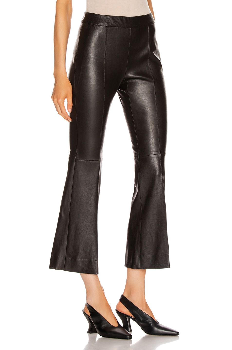 Image 2 of Rosetta Getty Pull On Cropped Flare Pant in Black
