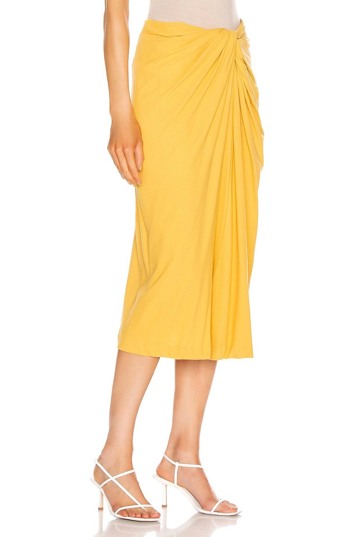 Image 2 of Rosetta Getty Twist Font Skirt in Gold