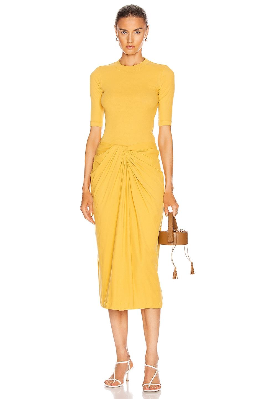 Image 4 of Rosetta Getty Twist Font Skirt in Gold