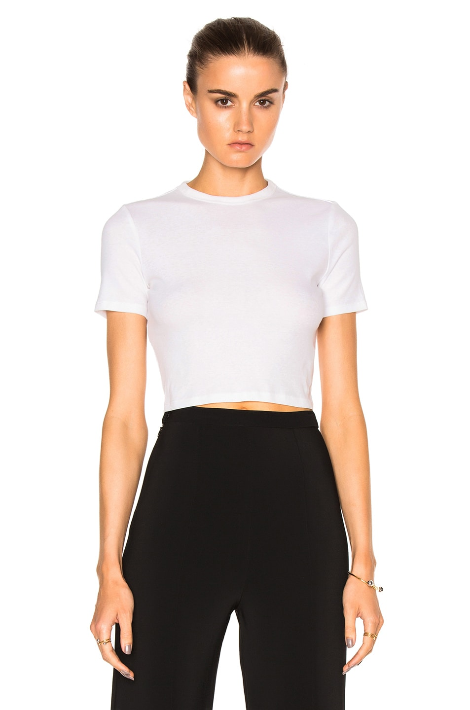 Image 1 of Rosetta Getty Cropped Short Sleeve T-Shirt in White