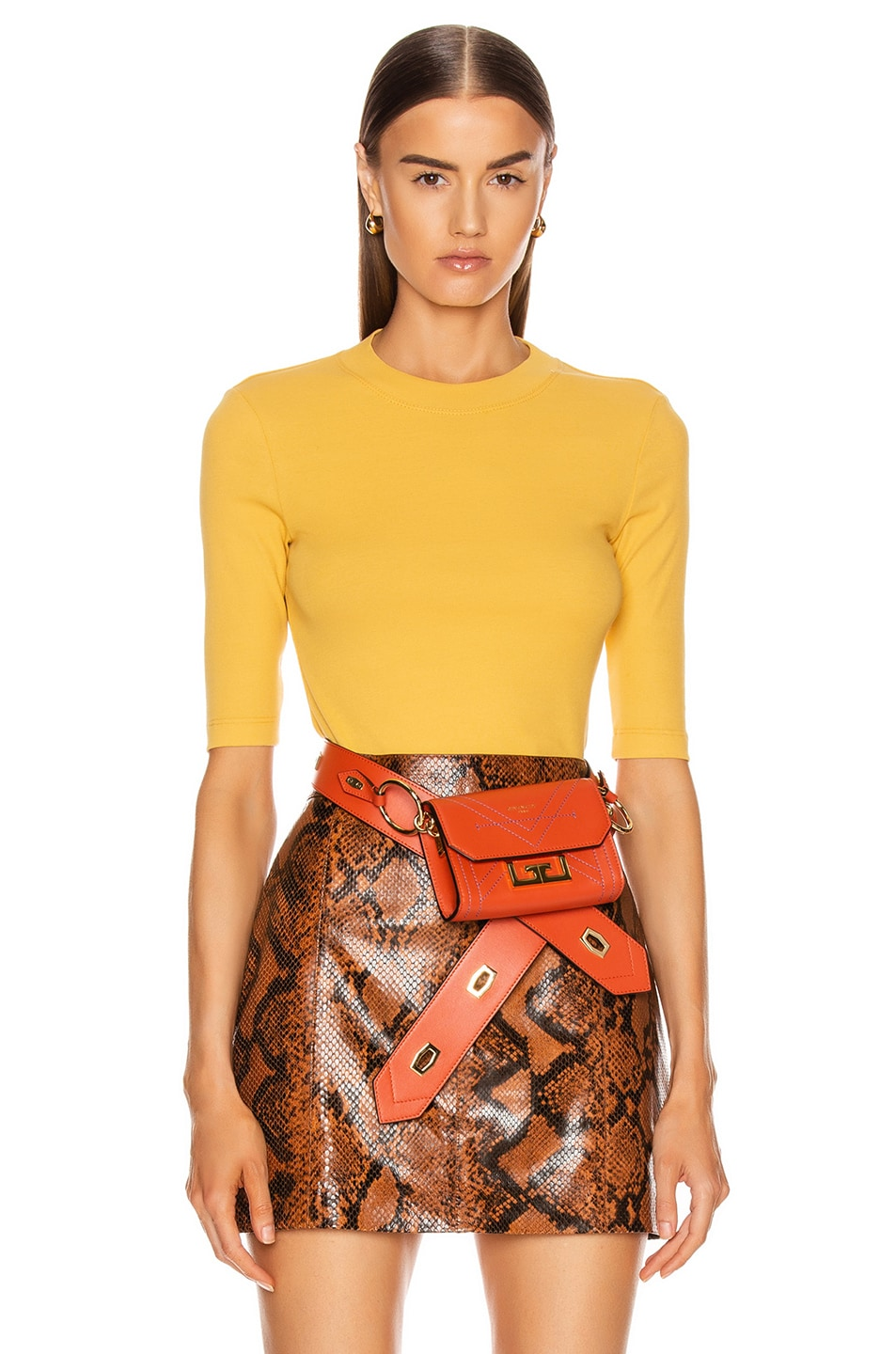 Image 1 of Rosetta Getty Cropped Sleeve T Shirt in Gold