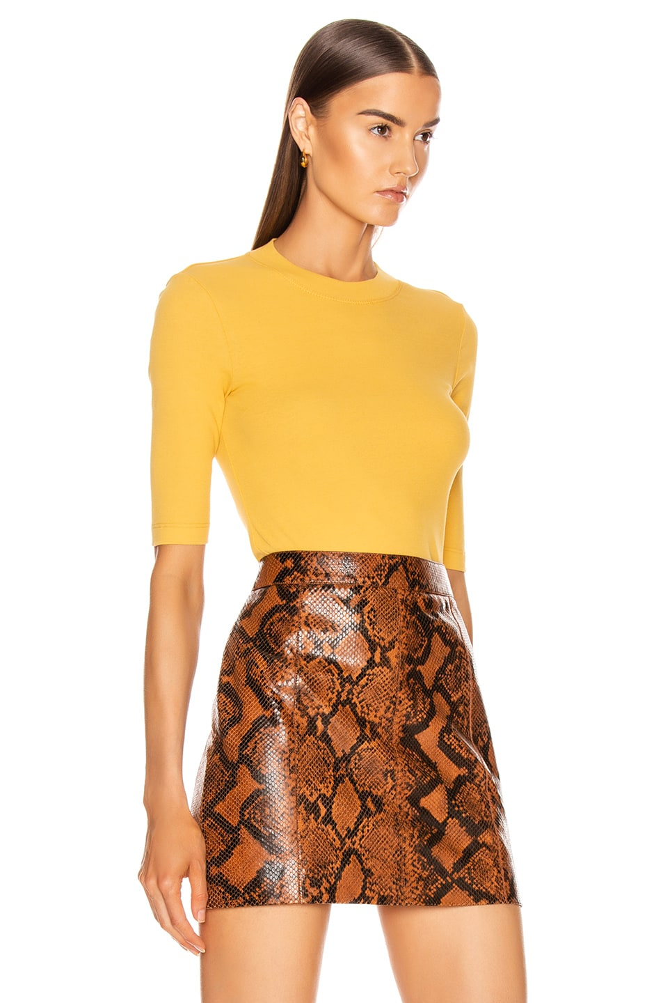 Image 2 of Rosetta Getty Cropped Sleeve T Shirt in Gold