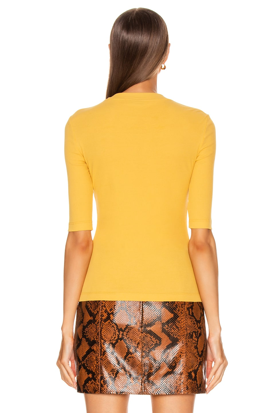 Image 3 of Rosetta Getty Cropped Sleeve T Shirt in Gold