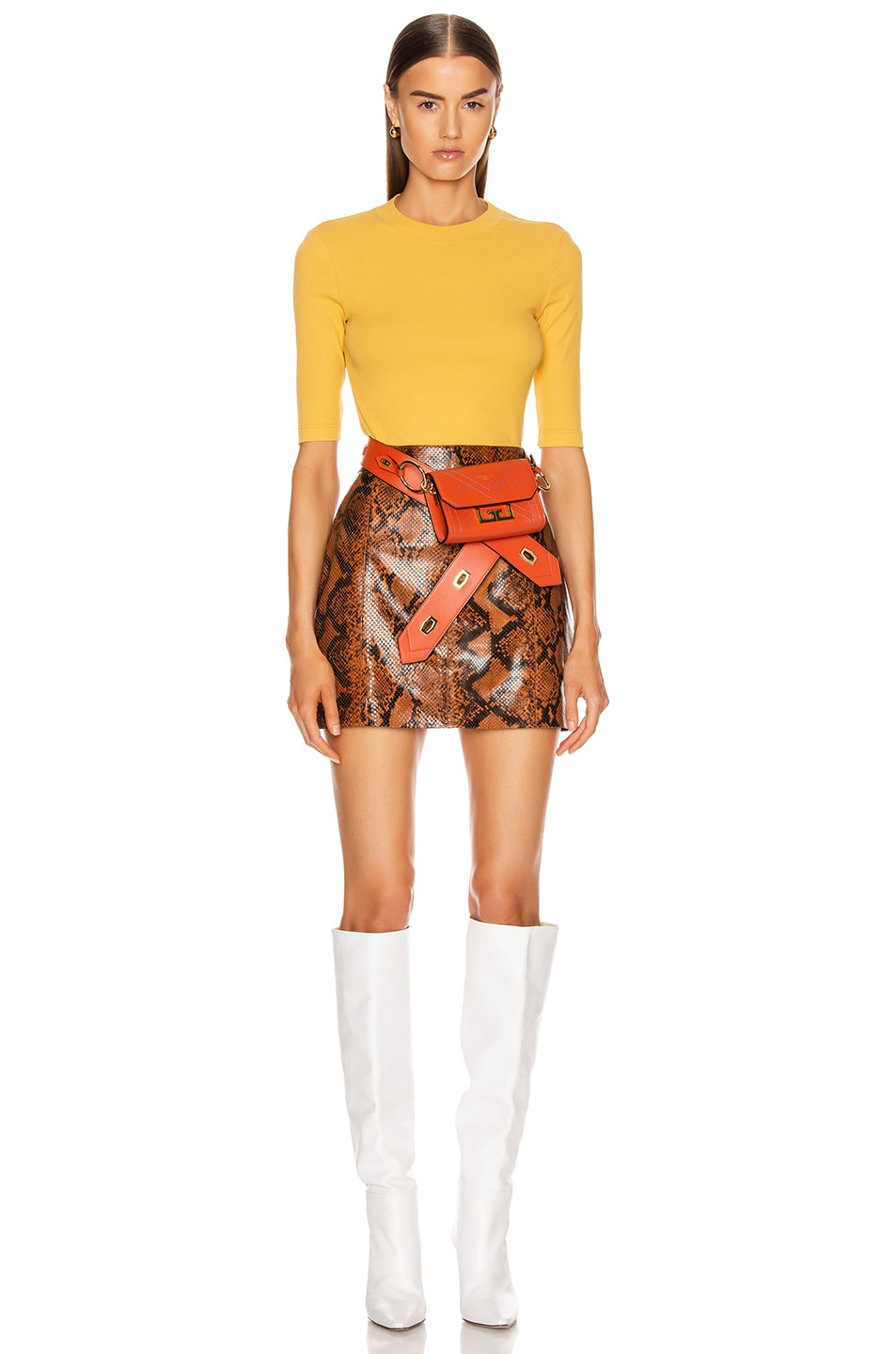 Image 4 of Rosetta Getty Cropped Sleeve T Shirt in Gold