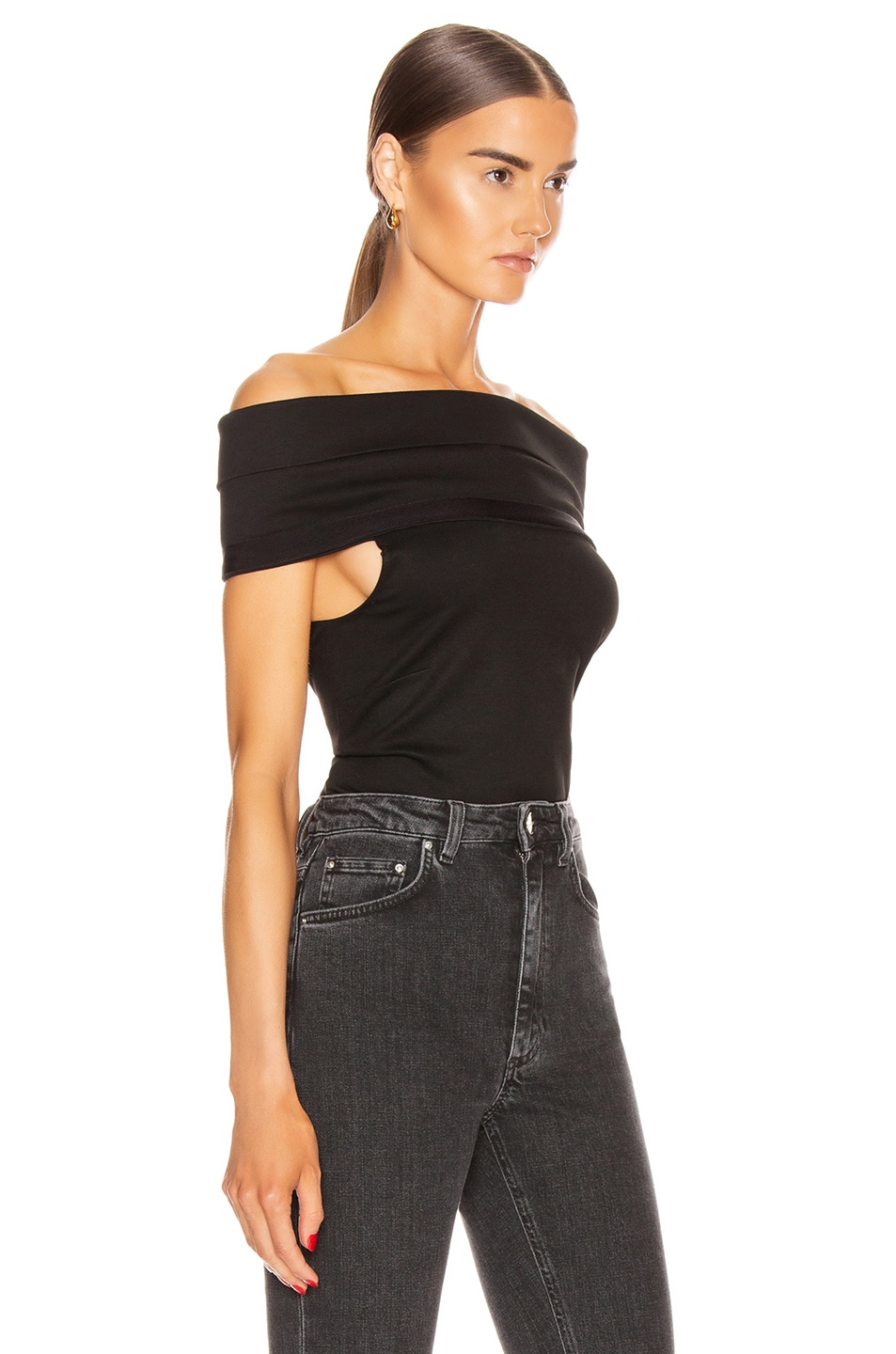 Image 2 of Rosetta Getty Banded Off the Shoulder Top in Black