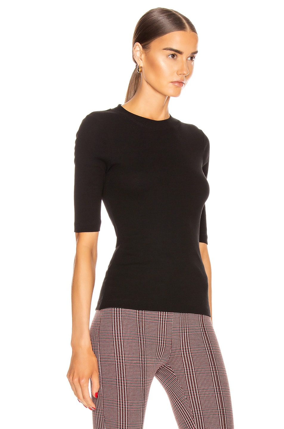 Image 2 of Rosetta Getty Cropped Sleeve T Shirt in Black