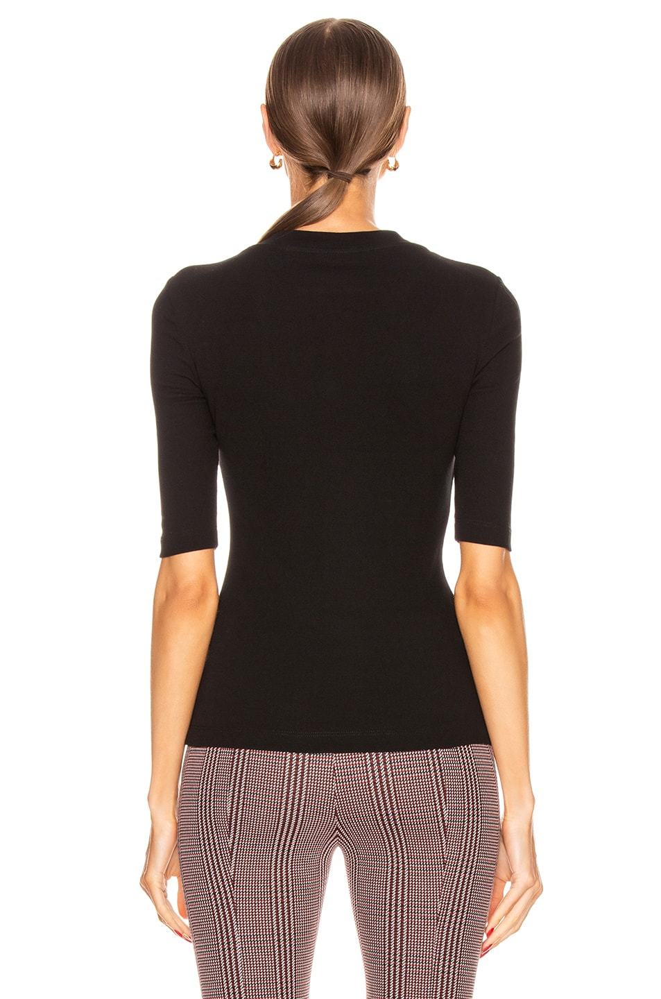 Image 3 of Rosetta Getty Cropped Sleeve T Shirt in Black