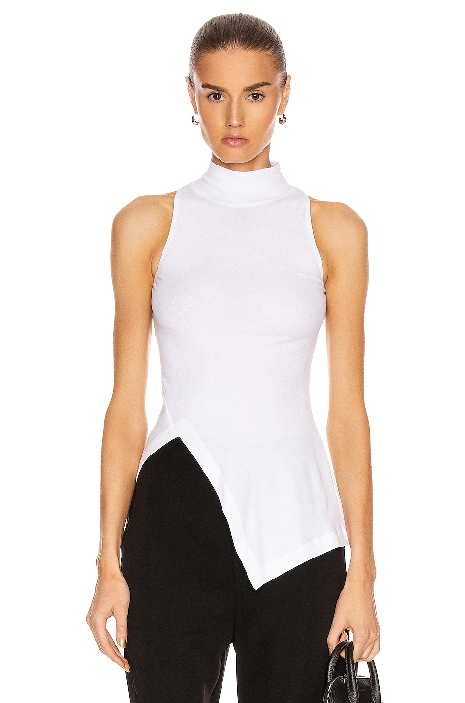 Image 1 of Rosetta Getty Sleeveless Paneled Turtleneck Top in White
