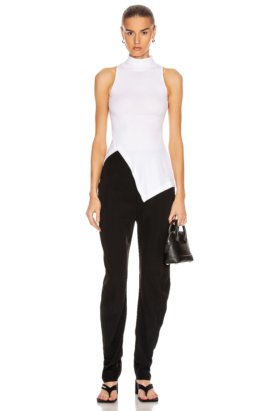 Image 5 of Rosetta Getty Sleeveless Paneled Turtleneck Top in White