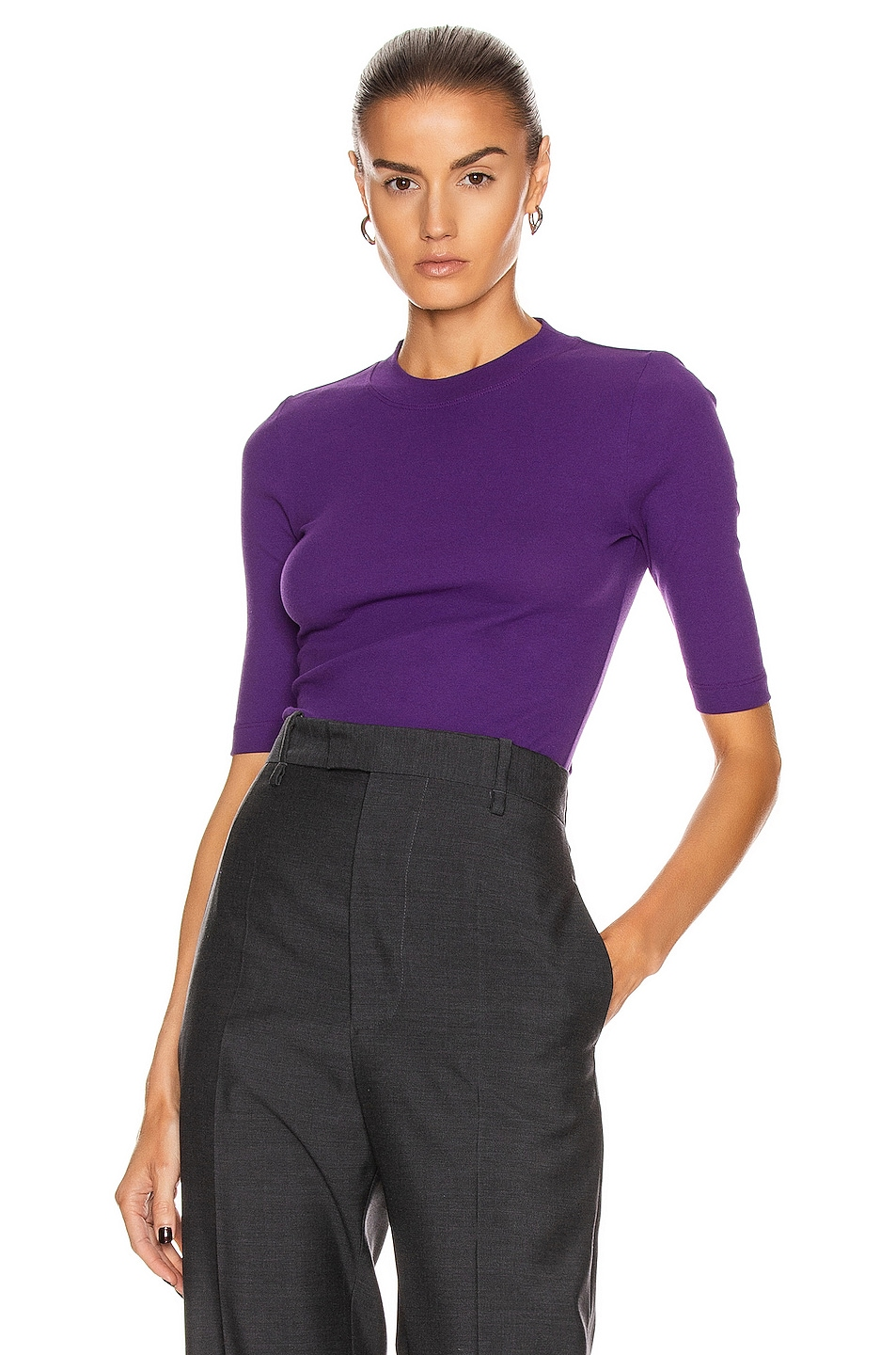 Image 1 of Rosetta Getty Cropped Sleeve T Shirt in Violet