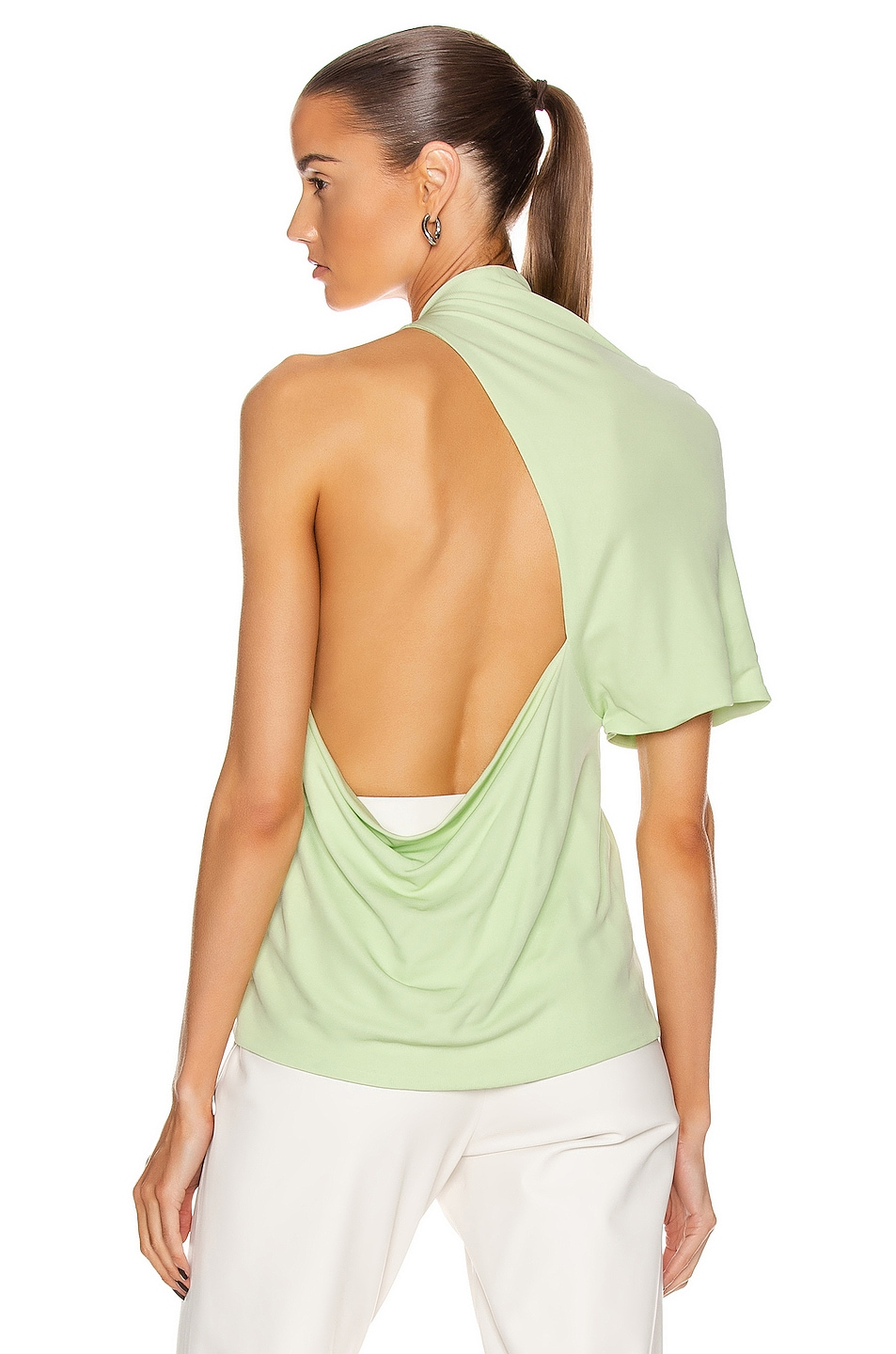 Image 1 of Rosetta Getty Asymmetrical Backless T Shirt in Lime
