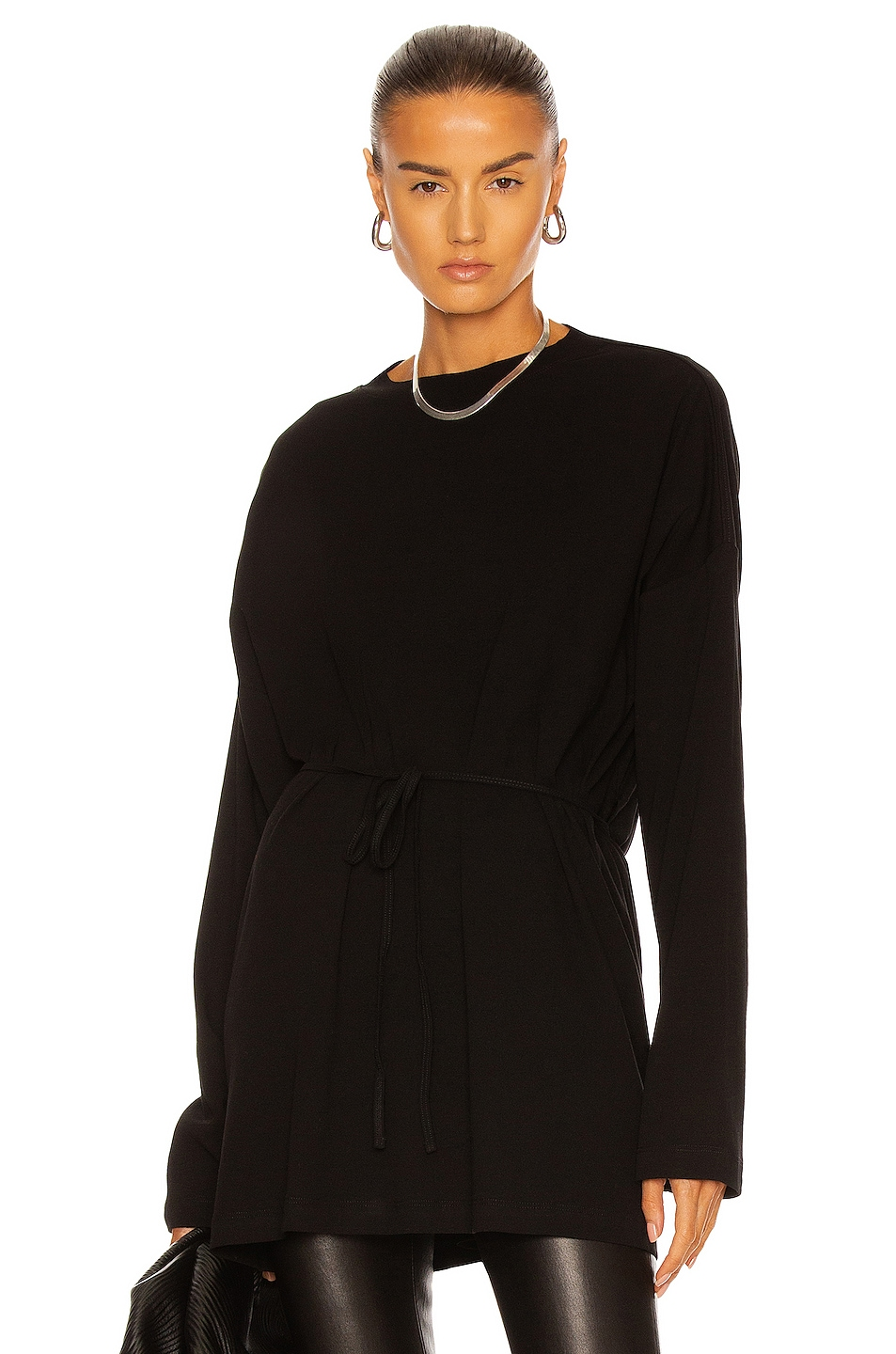 Image 1 of Rosetta Getty Long Sleeve Apron Front Top in Black