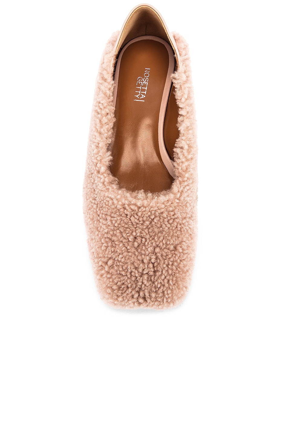 Image 4 of Rosetta Getty Shearling Loafers in Dusty Pink