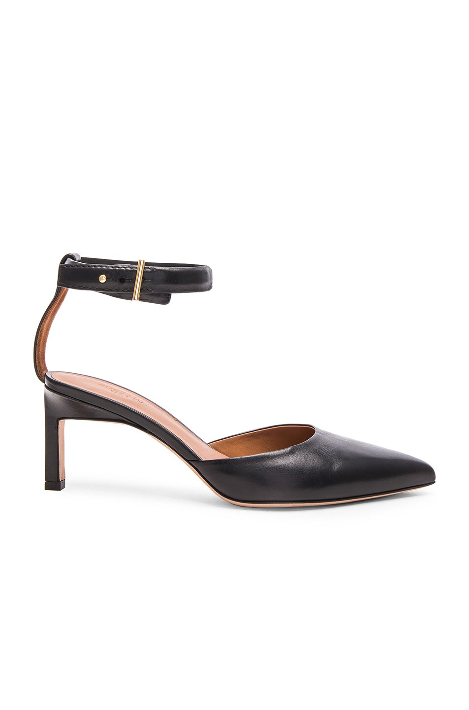 Image 1 of Rosetta Getty Leather Pointed Mid Heels in Black