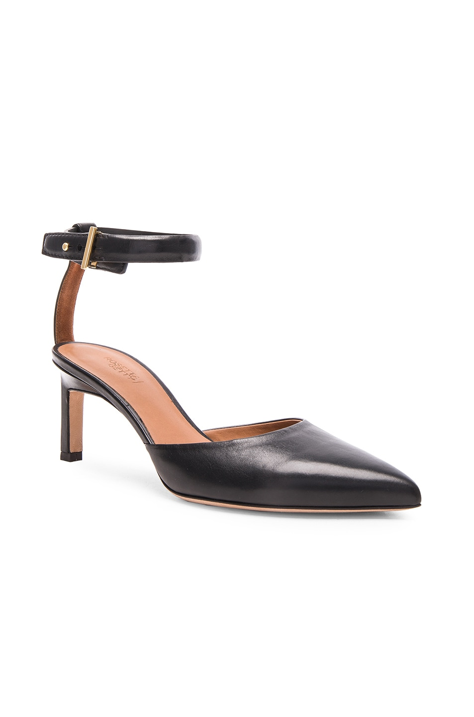 Image 2 of Rosetta Getty Leather Pointed Mid Heels in Black