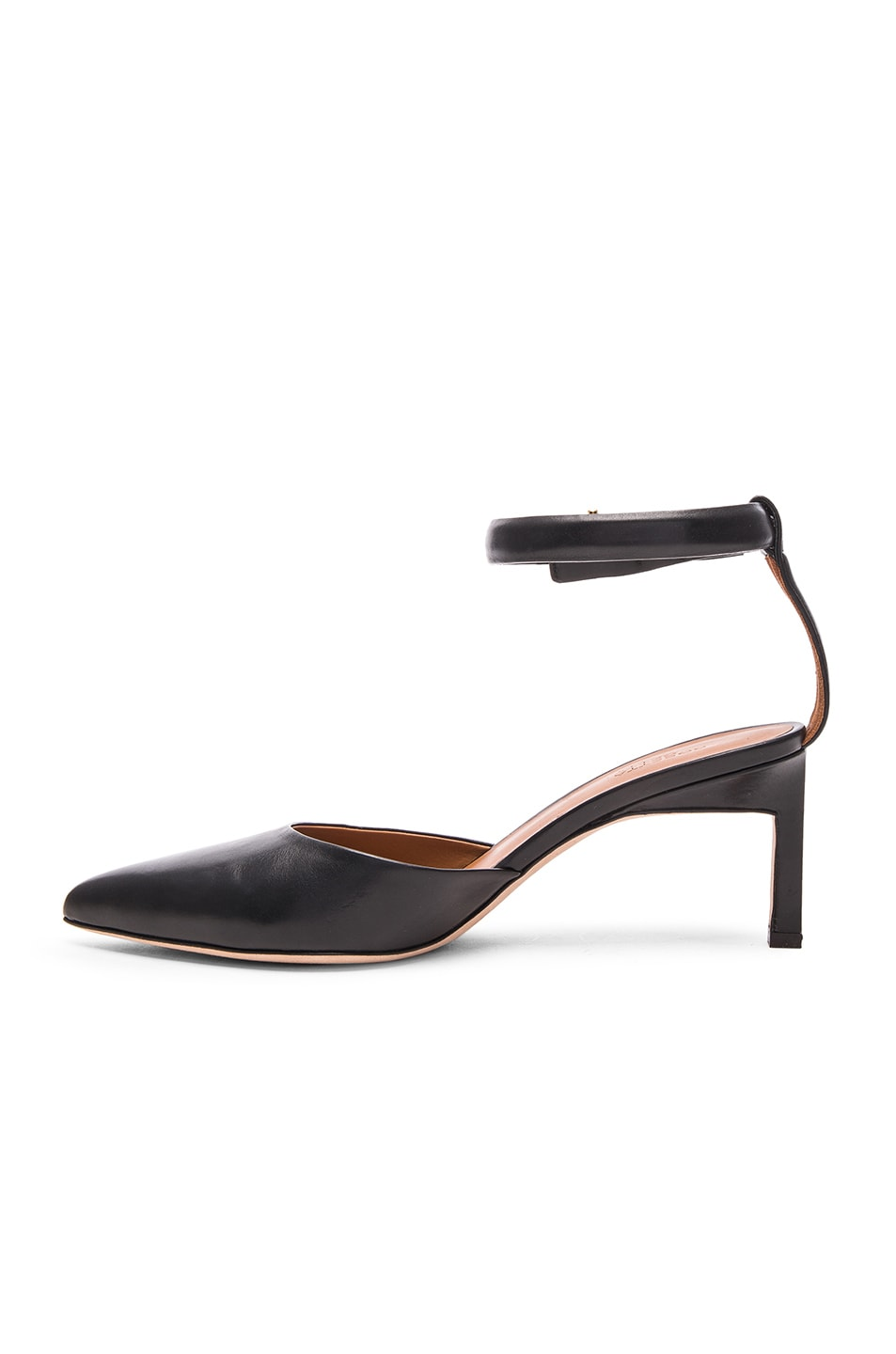 Image 5 of Rosetta Getty Leather Pointed Mid Heels in Black