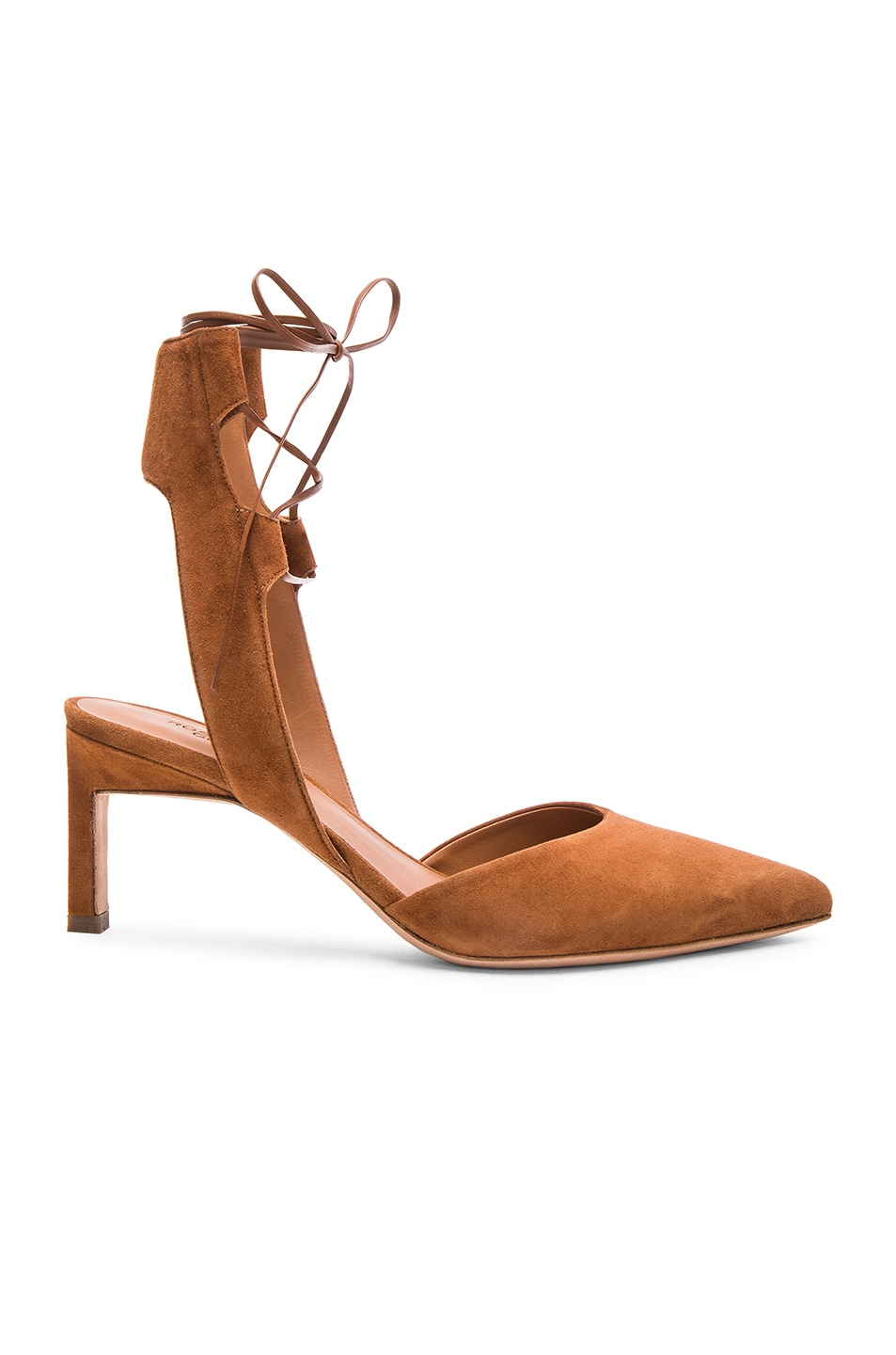 Image 1 of Rosetta Getty Suede Lace Up Pointed Mid Heels in Saddle