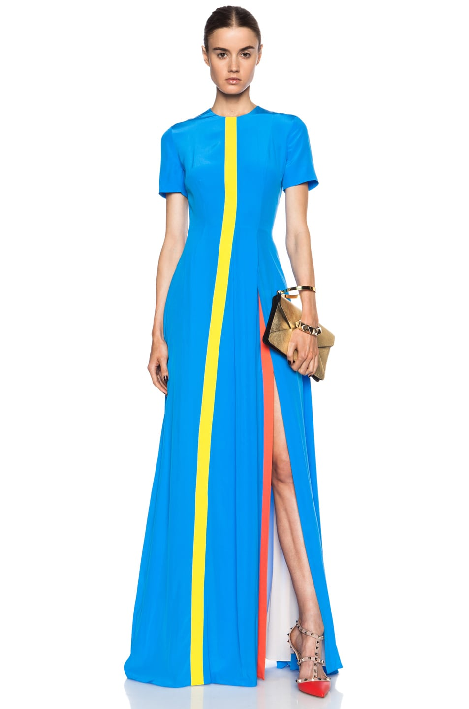 Image 1 of Roksanda Long Iden Silk-Blend Dress in Cerulean Multi