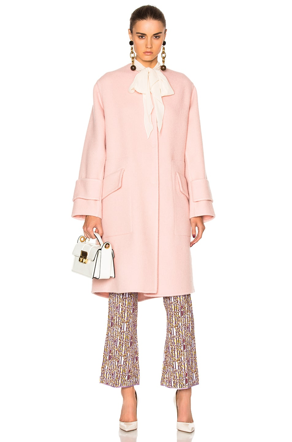 Image 1 of Roksanda Cavani Heavy Felted Wool Coat in Blush