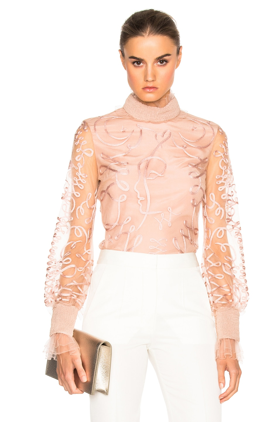 Image 1 of Roksanda Kielder Phantom Tulle Top in Blush