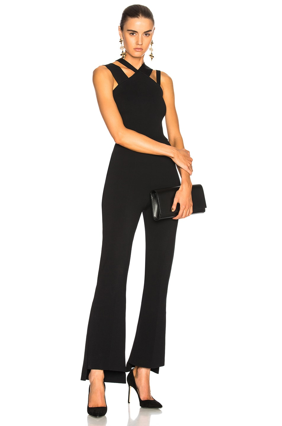 Image 1 of Roland Mouret Halesworth Plain Birdseye Stitch Jumpsuit in Black