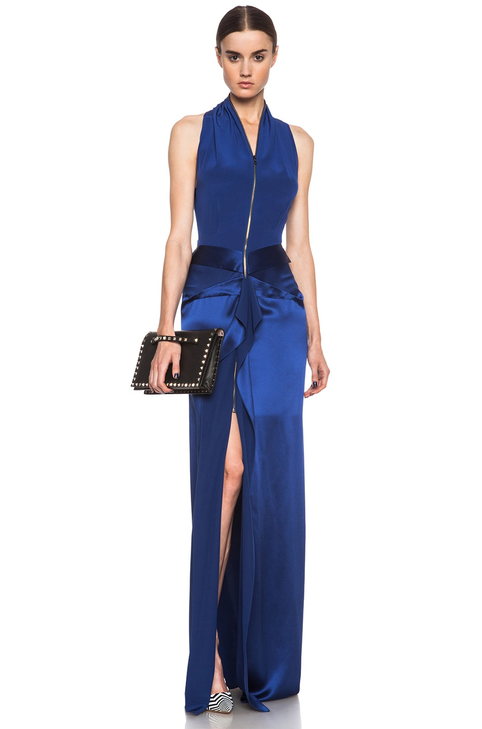 Image 1 of Roland Mouret Pictor Silk Gown in Royal Blue