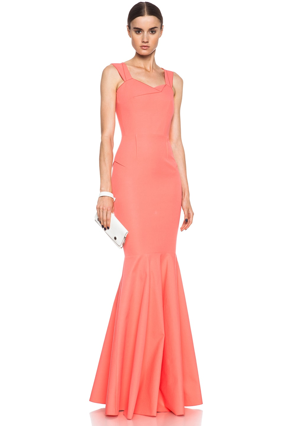 Image 1 of Roland Mouret Orpheus Cotton-Blend Gown Pink in Coral