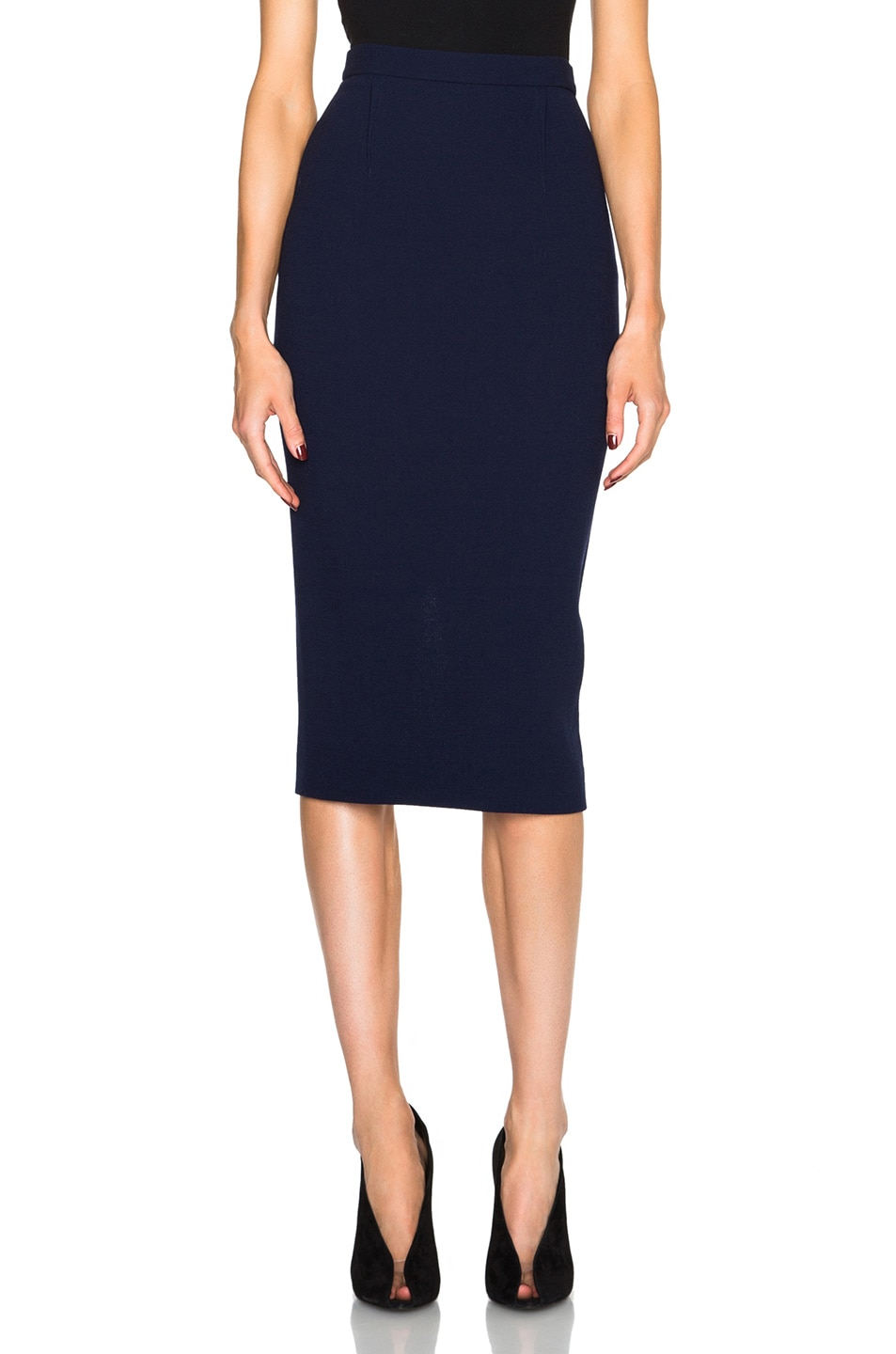 b84eaae2bd Image 1 of Roland Mouret Arreton Double Wool Crepe Skirt in Navy