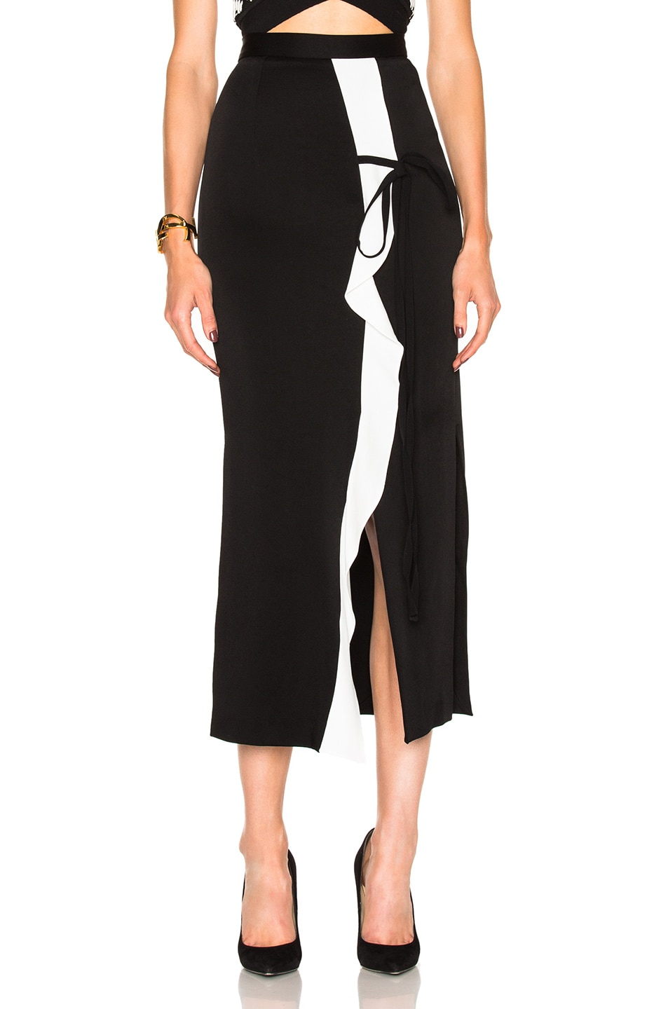 Image 1 of Roland Mouret Satin Crepe Brantley Skirt in Black & White