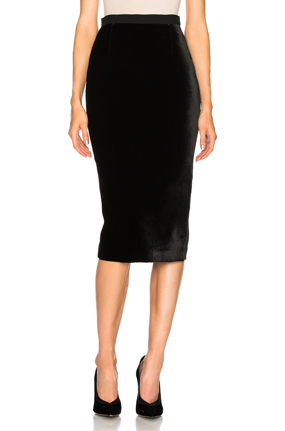 2e0ee8c7cc Image 1 of Roland Mouret Arreton Velvet & Stretch Viscose Skirt in Black &  Black