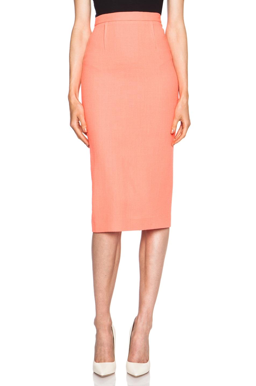 70489c412 Image 1 of Roland Mouret Arreton Wool Skirt in Fluro Coral