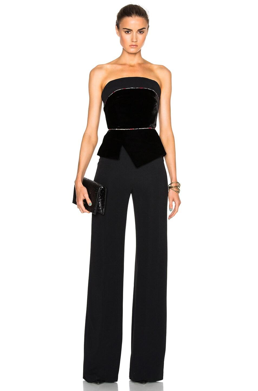 Image 1 of Roland Mouret Lyon Velvet Embroidered Tulle Jumpsuit in Black & Multi