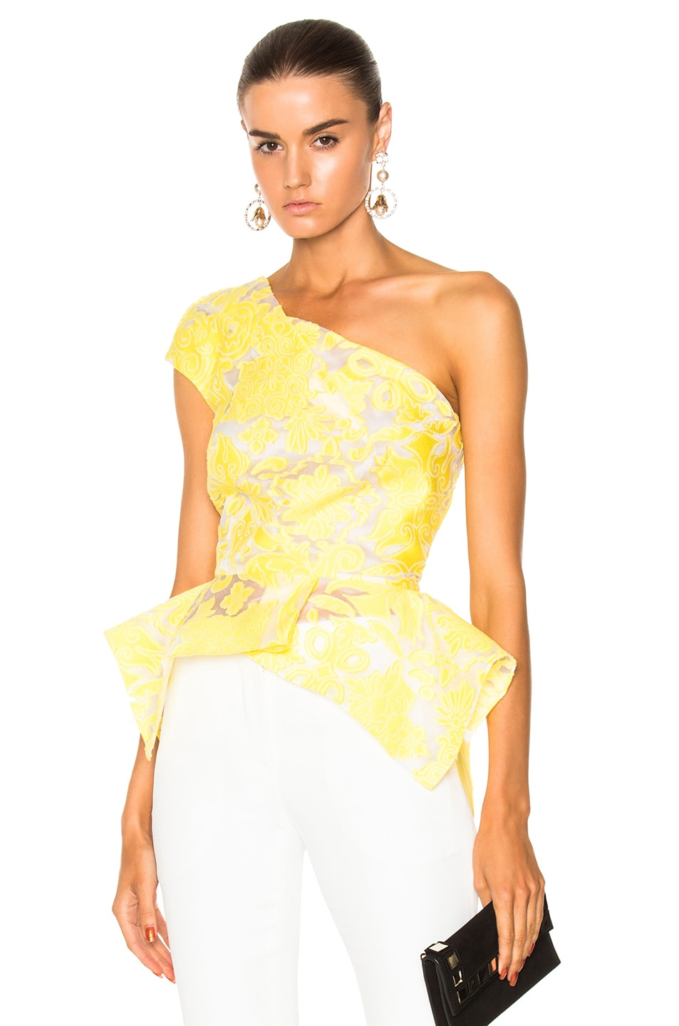Roland Mouret Rodmell Brocade Fils Coupe Top in Canary Yellow ...