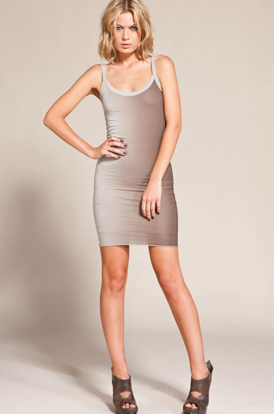 Image 1 of RICK OWENS LILIES Two Tone Ombre Cami Dress in Pear/Dust