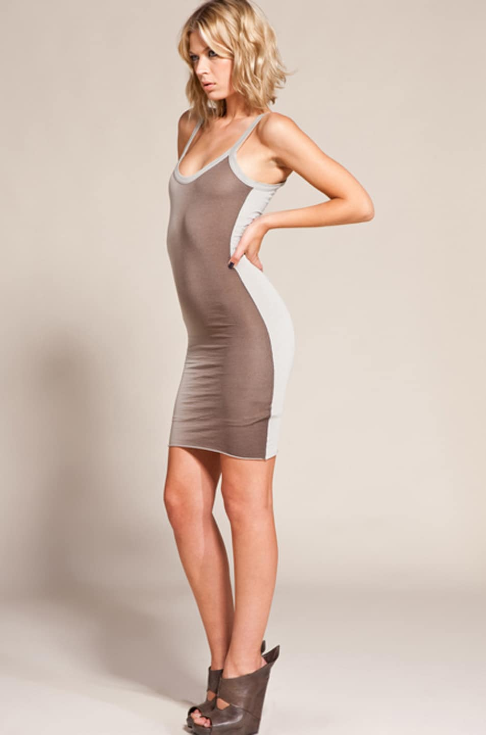Image 2 of RICK OWENS LILIES Two Tone Ombre Cami Dress in Pear/Dust