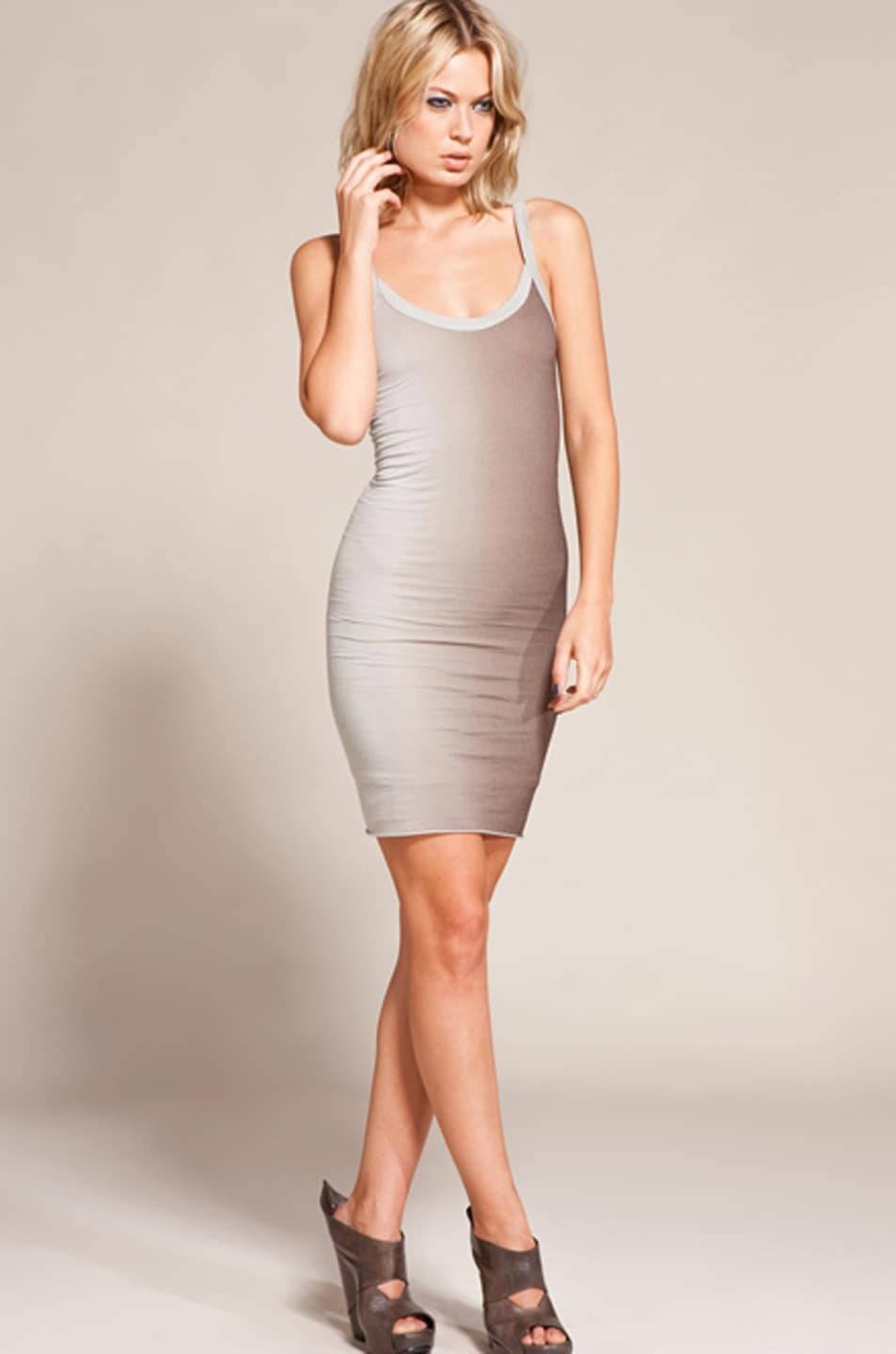 Image 3 of RICK OWENS LILIES Two Tone Ombre Cami Dress in Pear/Dust