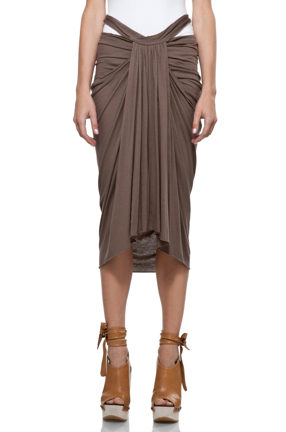 Image 1 of RICK OWENS LILIES Drape Mid-Length Skirt in DNA Dust