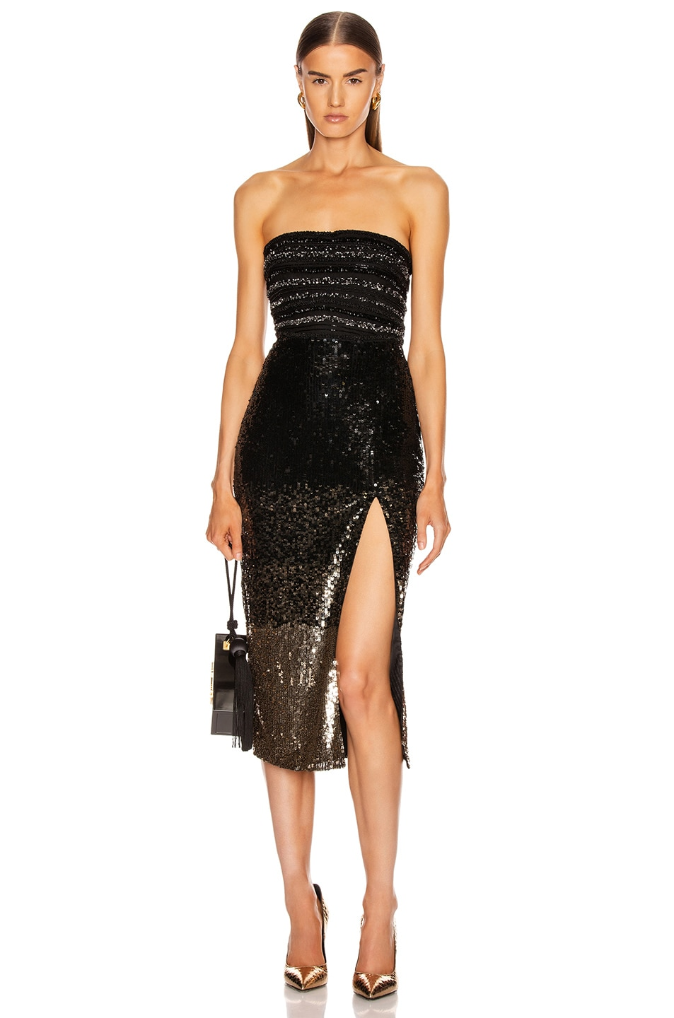 Image 1 of Rêve Riche Ilma Dress in Black Gold Degrade