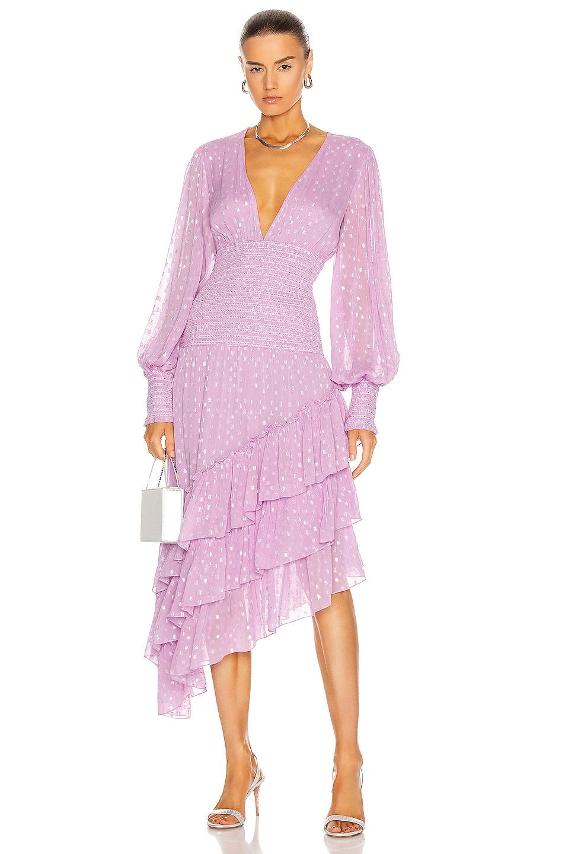 Image 1 of ROCOCO SAND Nut Ruffle Midi Dress in Lilac