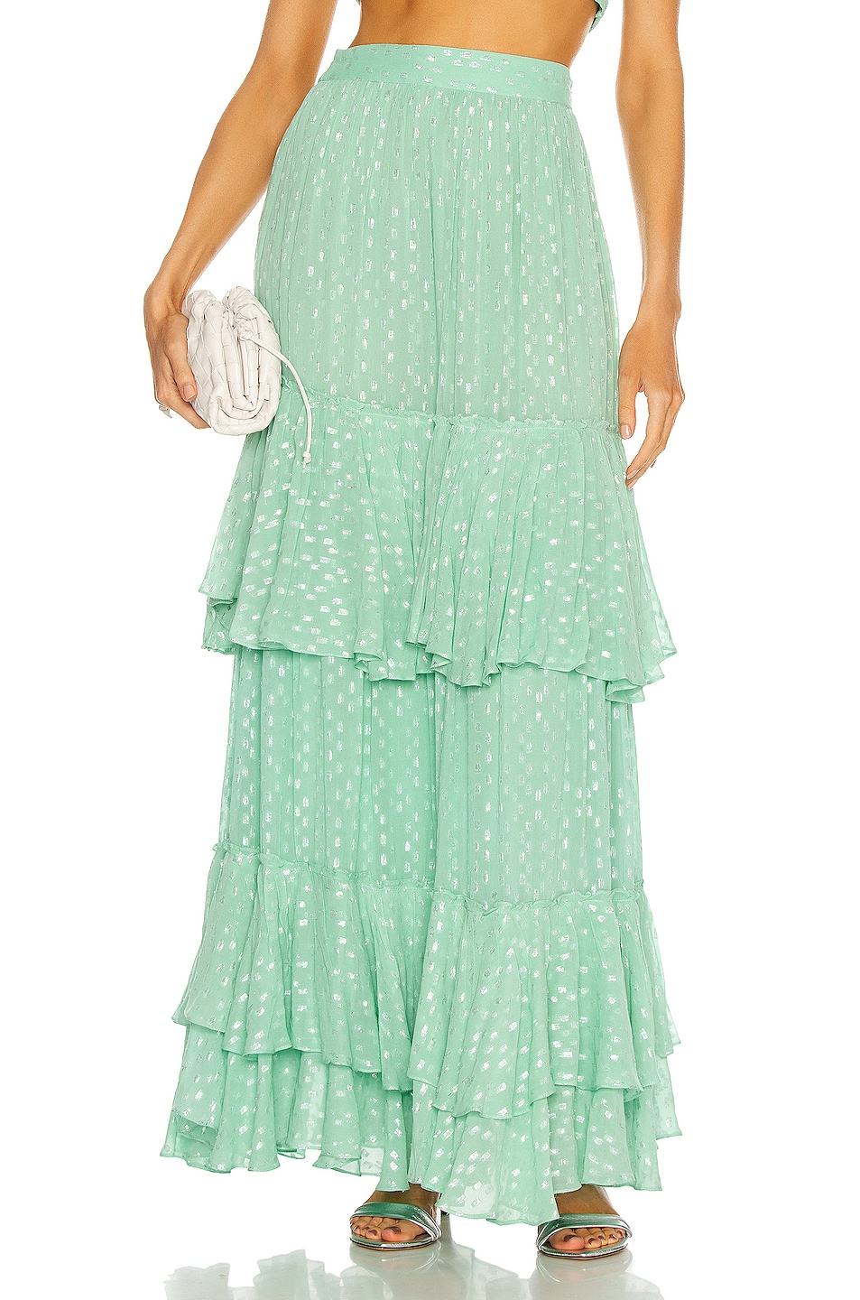Image 1 of ROCOCO SAND Aria Tiered Maxi Skirt in Mint