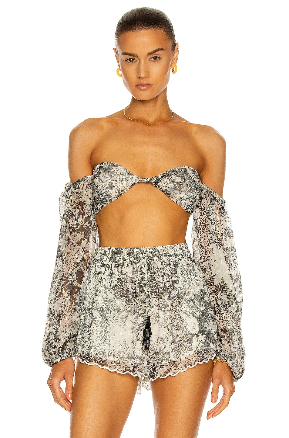 Image 1 of ROCOCO SAND Paola Bandeau Top in Black & White