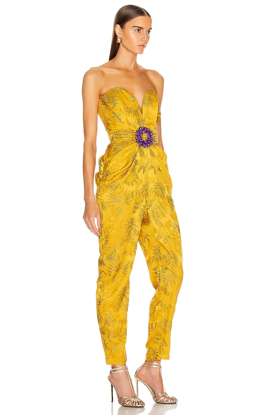 Image 2 of RAISA&VANESSA Embellished Strapless Jumpsuit in Yellow