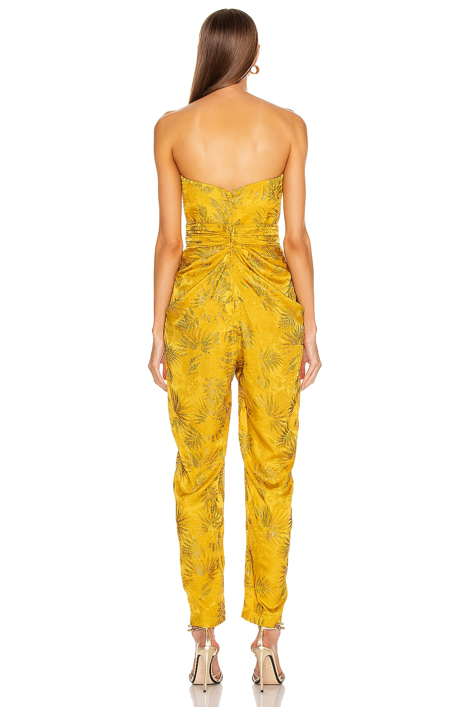 Image 3 of RAISA&VANESSA Embellished Strapless Jumpsuit in Yellow