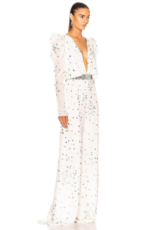 Image 2 of RAISA&VANESSA Strass Long Sleeve Jumpsuit in White