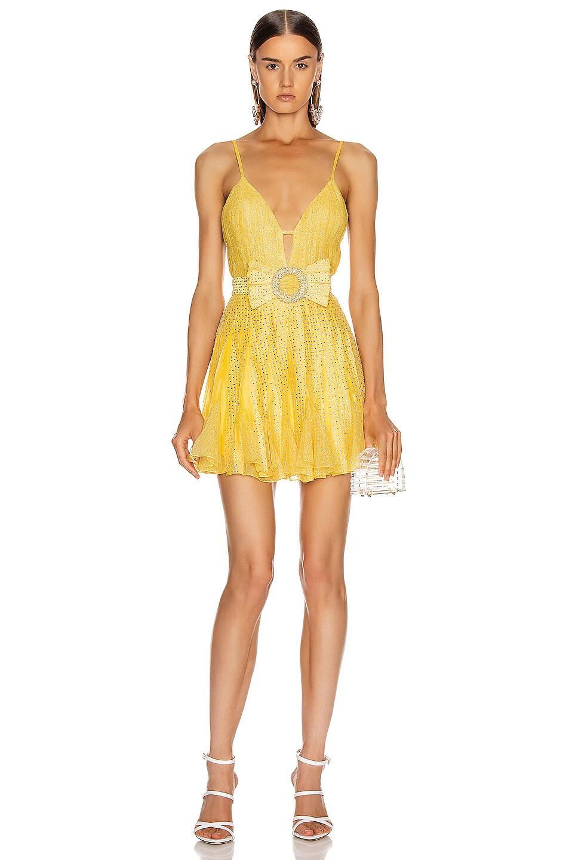 Image 1 of RAISA&VANESSA Strass Embellished V Neck Mini Dress in Yellow