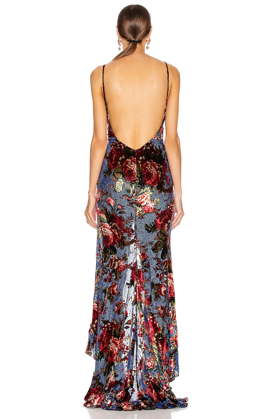 Image 3 of RAISA&VANESSA Strass Embellished Velvet Maxi Dress in Floral