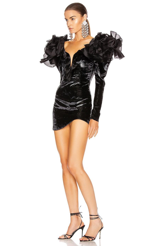 Image 3 of RAISA&VANESSA Velvet Ruffled Shoulder Mini Dress in Black