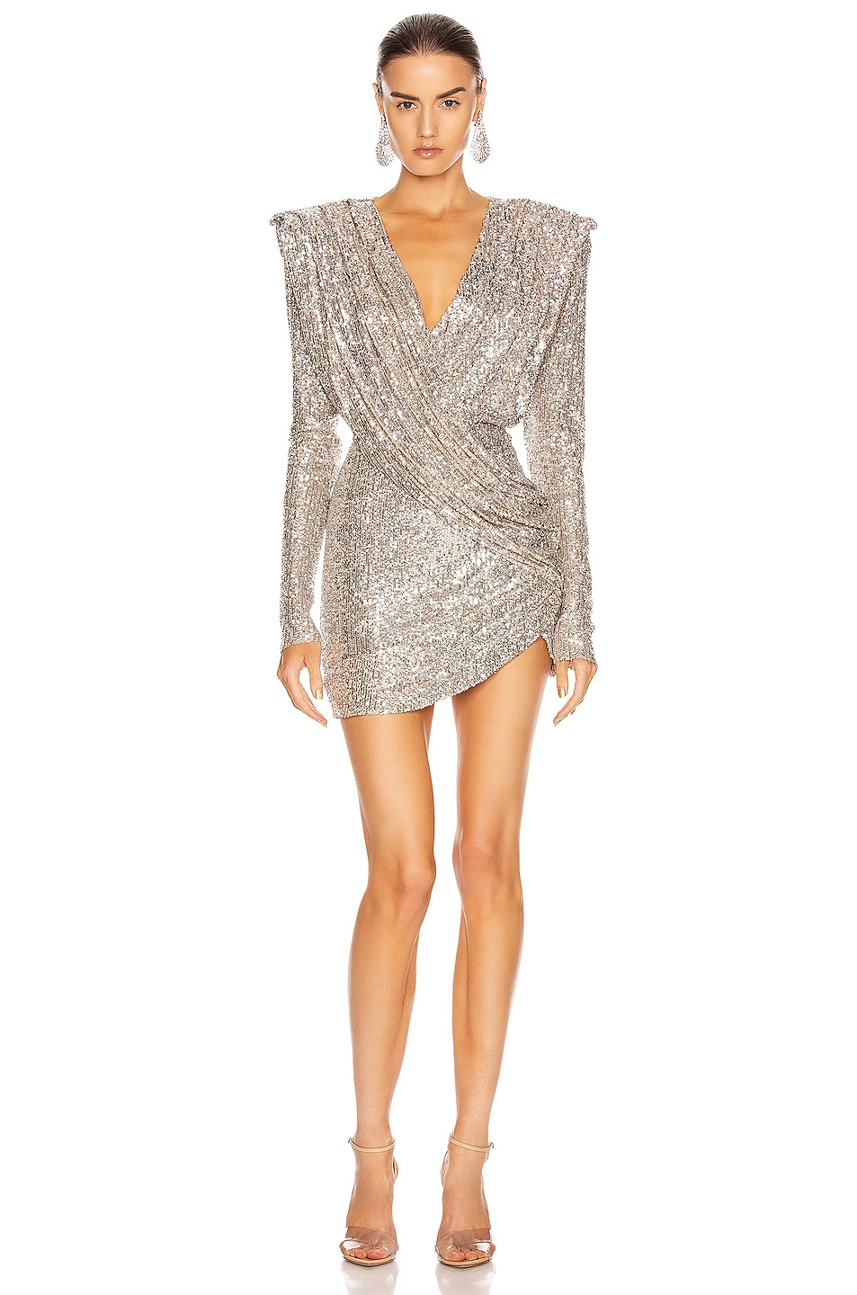 Image 1 of RAISA&VANESSA Sequined Mini Dress in Silver